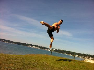 In Jersey UK practising some jump kicks in the sunshine.